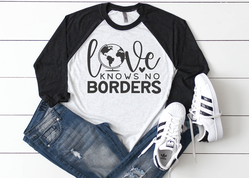 Love has no Boundaries Foster Care Adoption Ladies Raglan Shirt Multiple Colors Available AA553