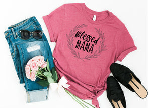 Blessed Mama Ladies T Shirt AA032