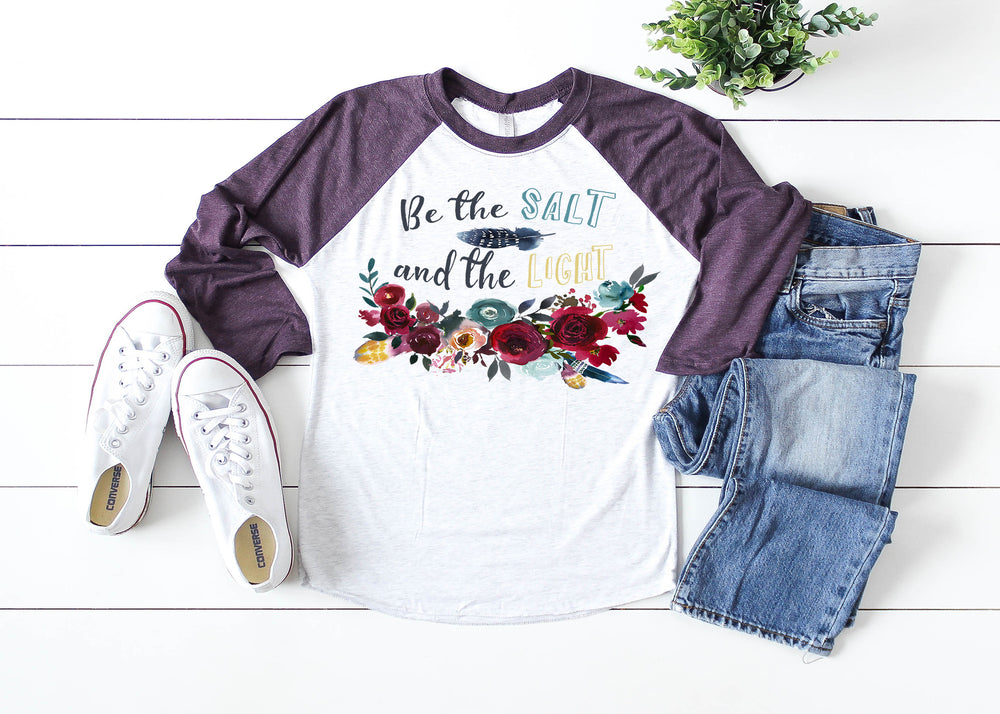 Be the Salt and the Light Ladies Raglan Shirt Multiple Colors Available AA024