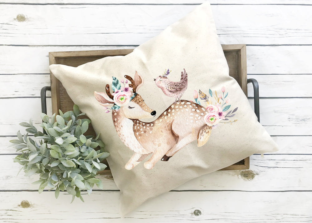Deer Bird Pillow Cover