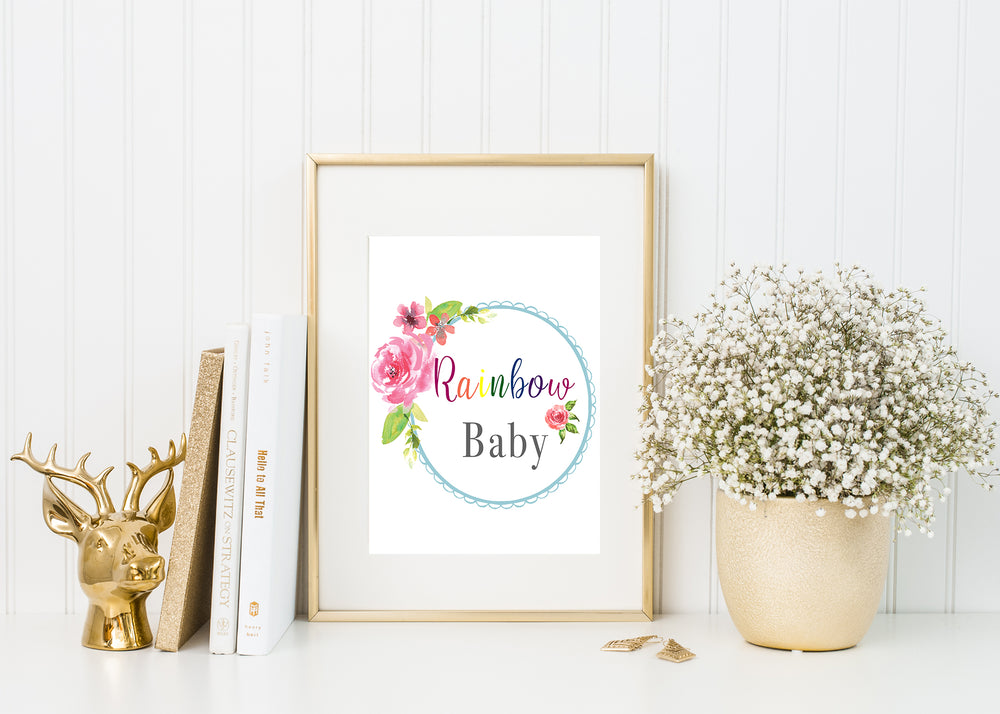 Rainbow Baby Christian Nursery Wall Art 8 x 10 Unframed
