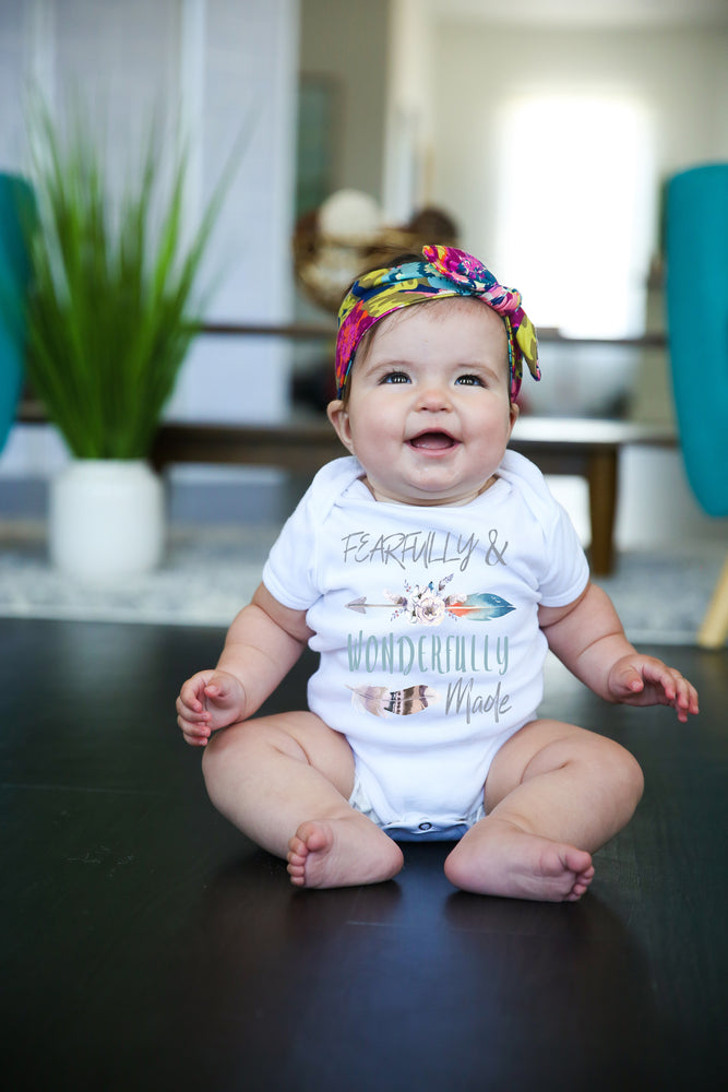 Fearfully and Wonderfully Made Feather Graphic Baby Bodysuit AA071
