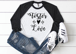 Foster Love Foster Care Adoption Ladies Raglan Shirt Multiple Colors Available AA547