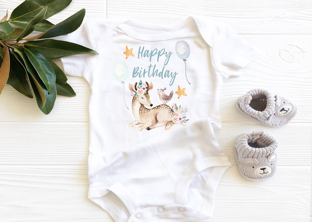 Happy Birthday Deer Graphic Baby Bodysuit AA095