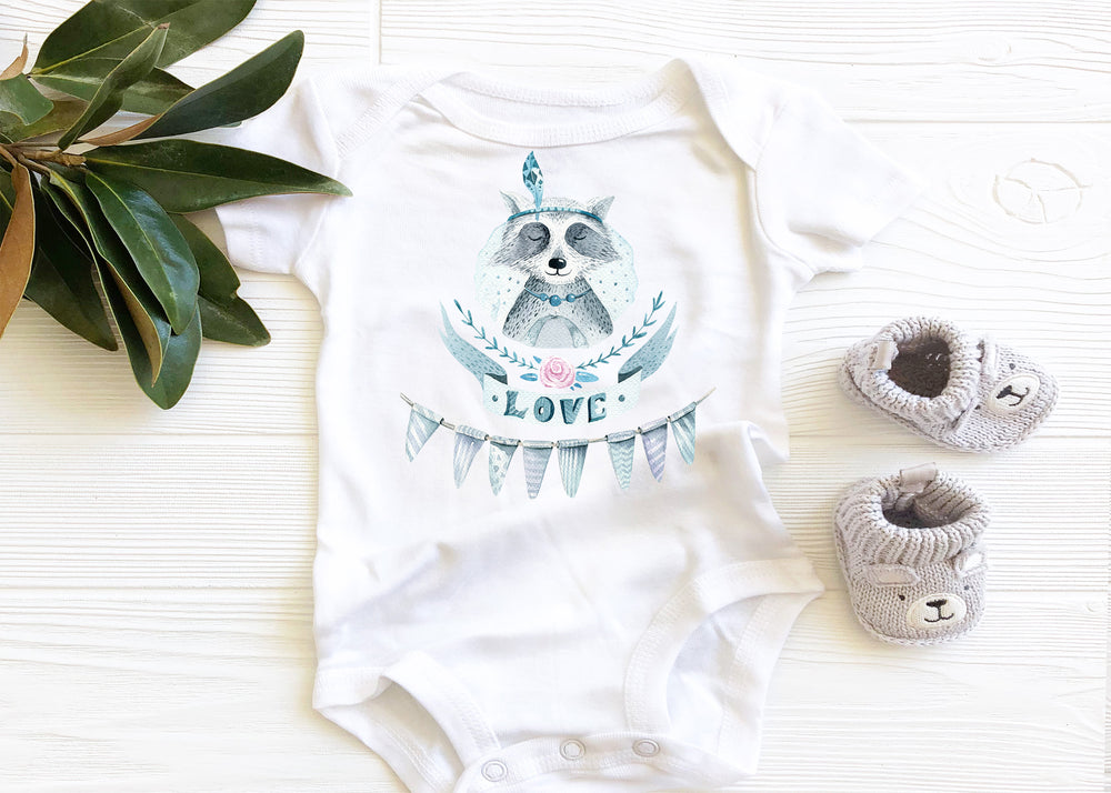 Love Raccoon Baby Onesie