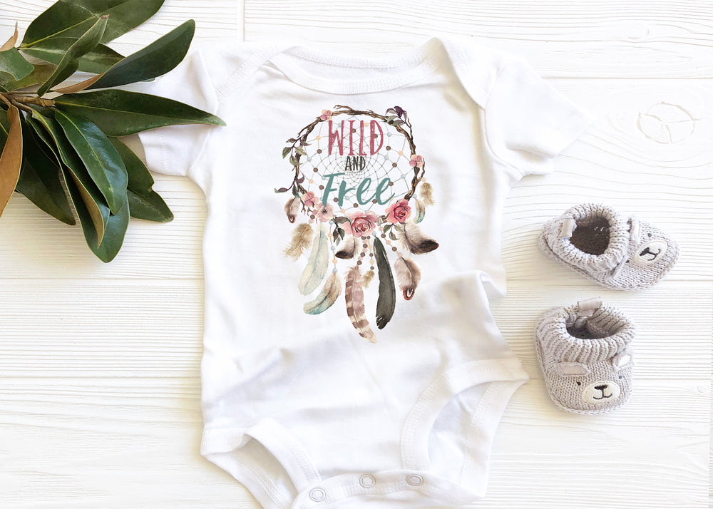 Wild and Free Dreamcatcher Graphic Baby Bodysuit AA243