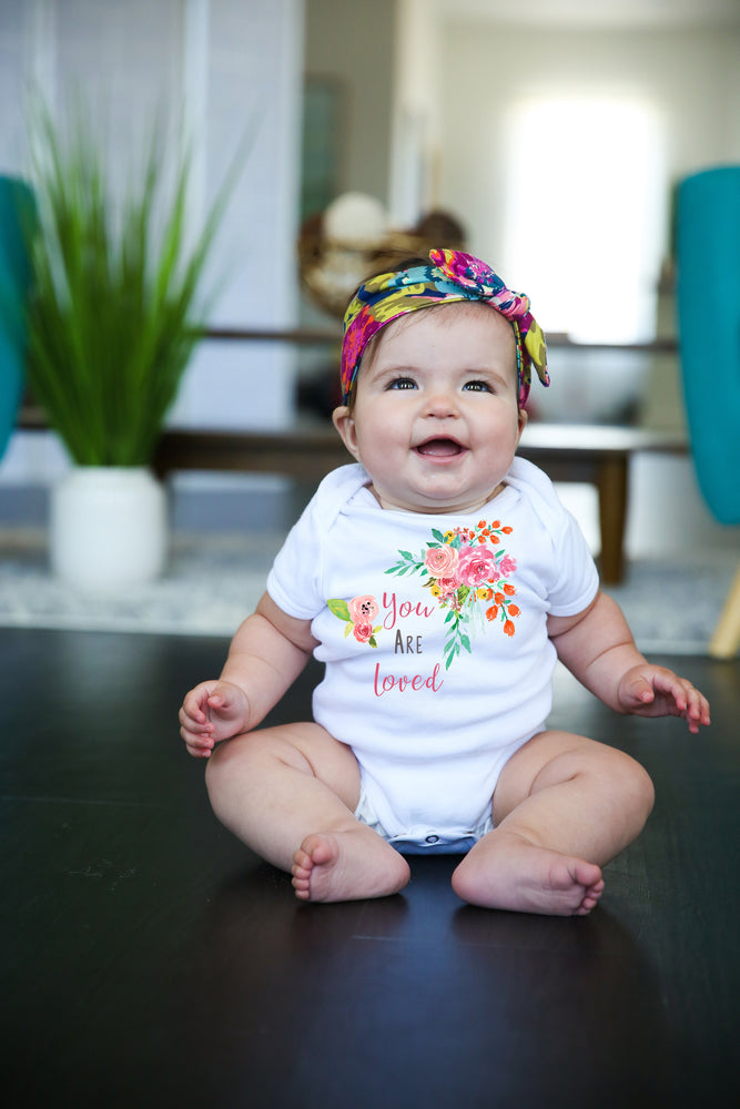 You are Loved pink floral  Graphic  Baby Bodysuit AA248