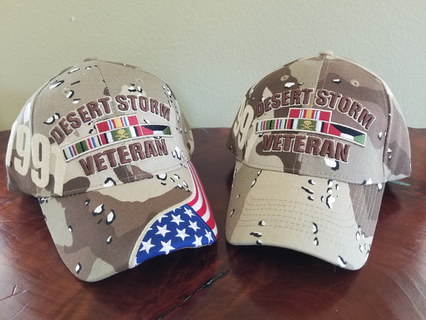[2 pack] Desert Storm Veteran Hat (1 with flag/1 without flag]