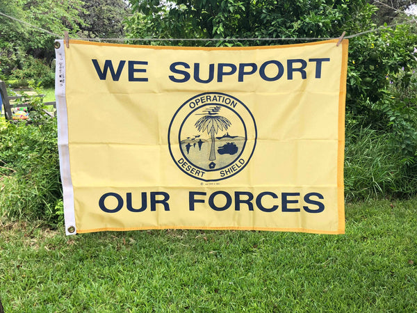 Desert Shield (Support our Forces) Flag (2'x3') Vintage (Summer SALE)
