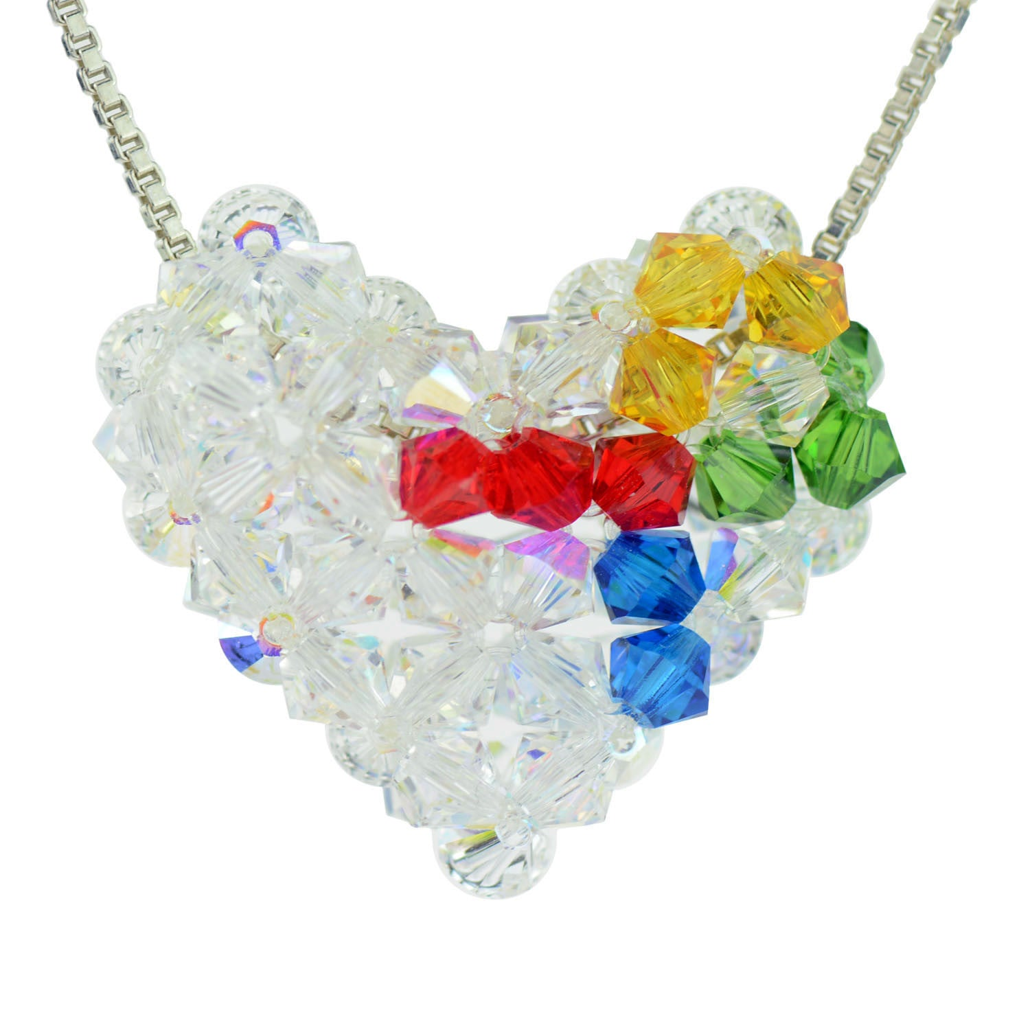 Sterling silver and swarovski crystal autism awareness woven puffy sterling silver and swarovski crystal autism awareness woven puffy heart necklace aloadofball Gallery