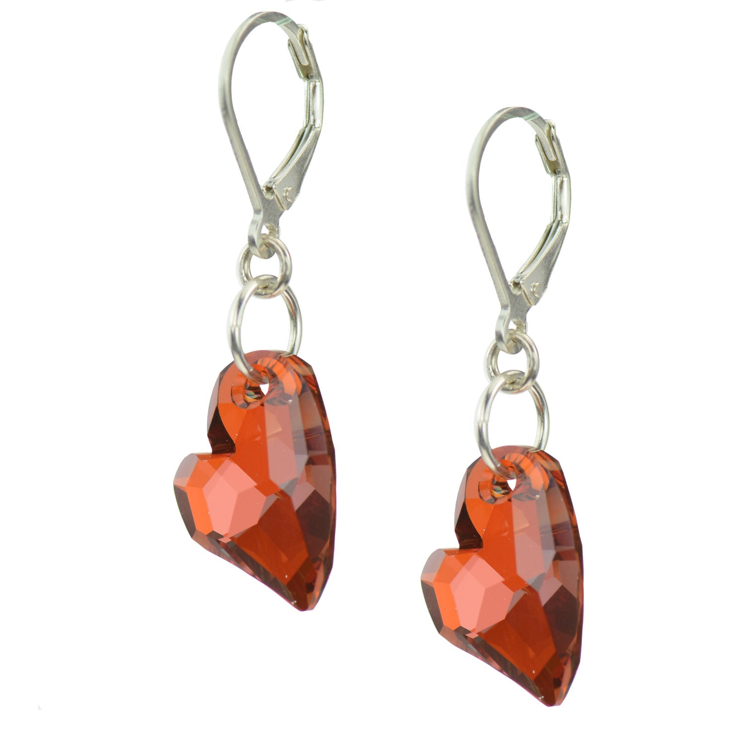 Swarovski Crystal Devoted 2 U Red Heart Earrings With Sterling Silver  Leverbacks