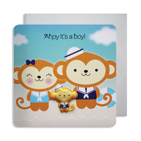 New Baby Monkey Magnet Card