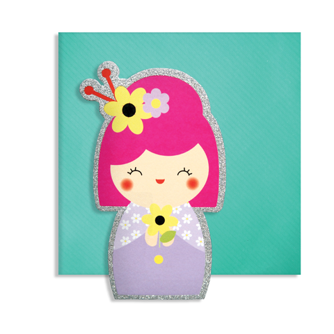 Cute Cut Kokeshi Card