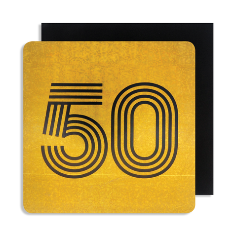 Holographic 50 Birthday Card