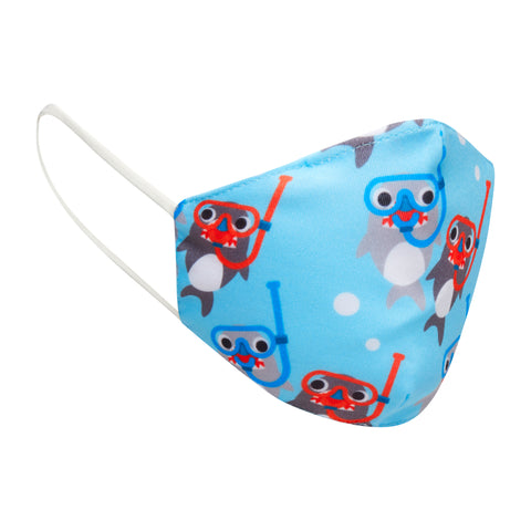 Children's Cloth Shark Face Mask | light blue