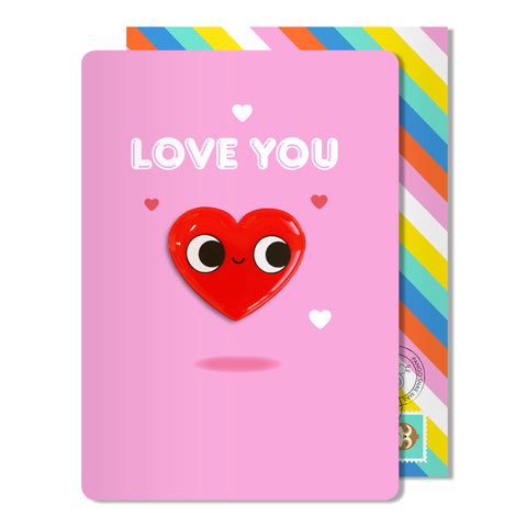 Love You Heart Magnet Card