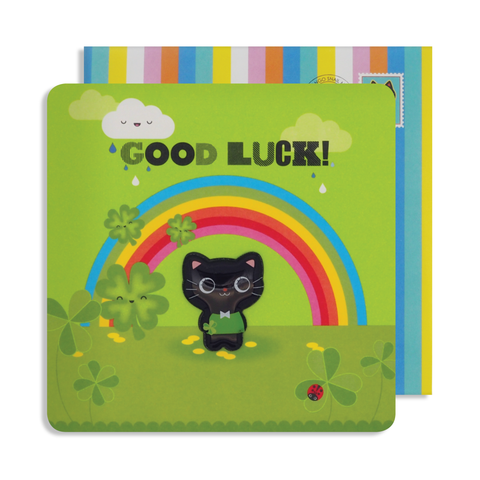 Jelly Magnet Good Luck Cat Card