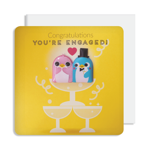 Jelly Magnet Engagement Penguin Card