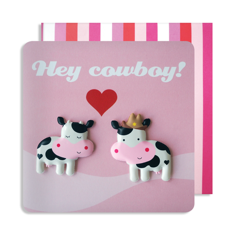 Valentines Hey Cowboy Double Magnet Card