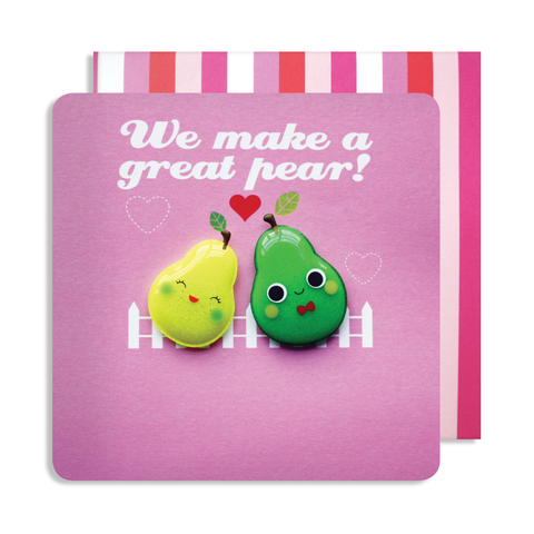 Valentines Great Pear Double Magnet Card