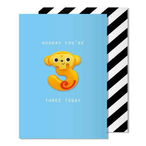 Age 3 Monkey Magnet Card