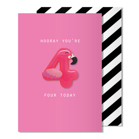 Age 4 Flamingo Magnet Card