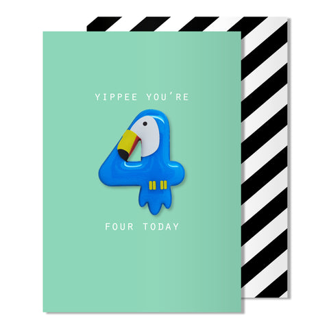 Age 4 Toucan Magnet Card
