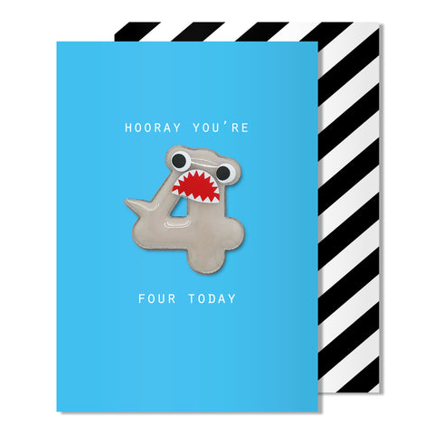 Age 4 Shark Magnet Card