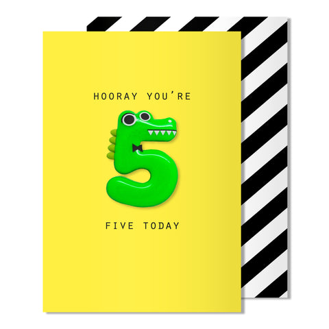 Age 5 Crocodile Magnet Card