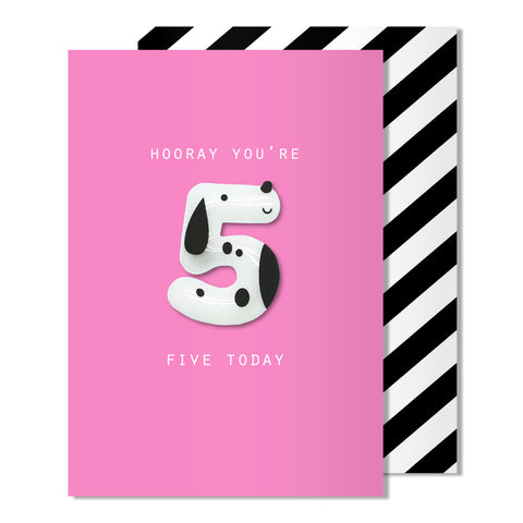 Age 5 Dog Magnet Card