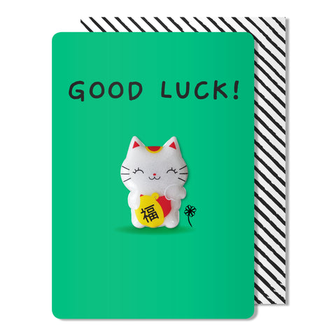 Good Luck Cat Magnet Card