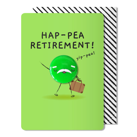 Retirement Pea Magnet Card