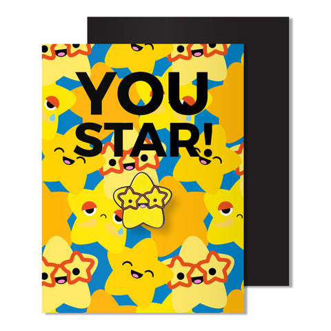 Enamel Star Pin Card