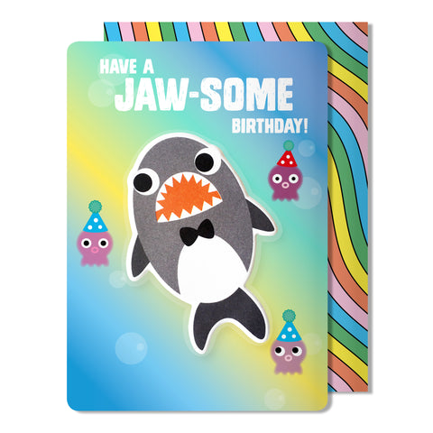 Shark Puffy Sticker Birthday Card