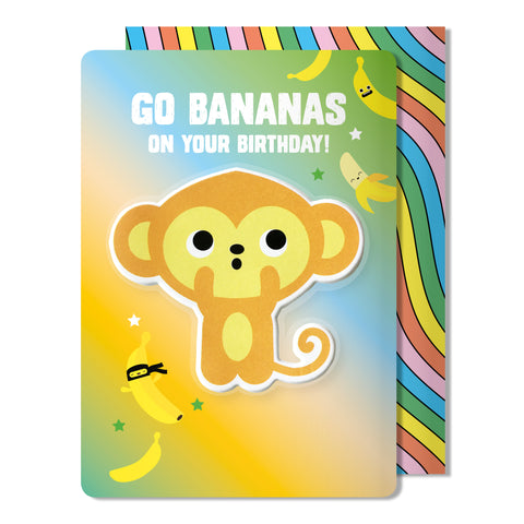 Monkey Puffy Sticker Birthday Card