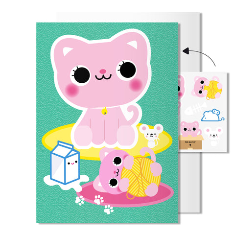 Cat card | with temporary tattoos
