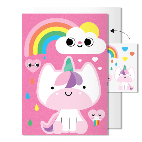 Unicorn card | Includes sheet of transferable tattoos