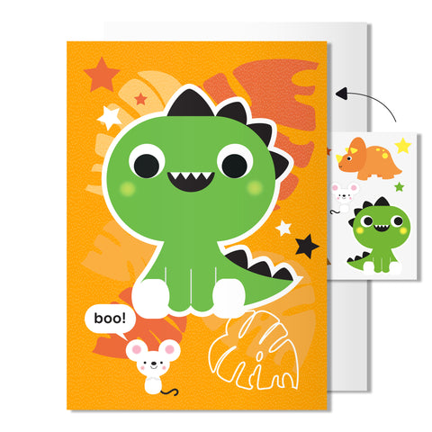 Dinosaur card | Includes sheet of transferable tattoos