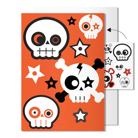 Skull card | Includes sheet of transferable tattoos