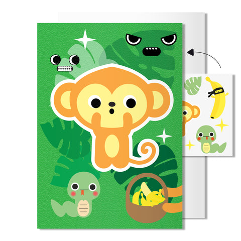 Monkey card | with temporary tattoos