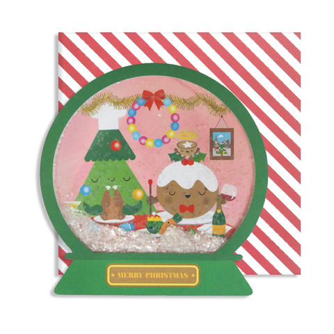 Christmas dinner Xmas Snow Globe Card