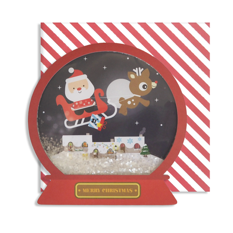 Santa in Sleigh Xmas Snow Globe Card