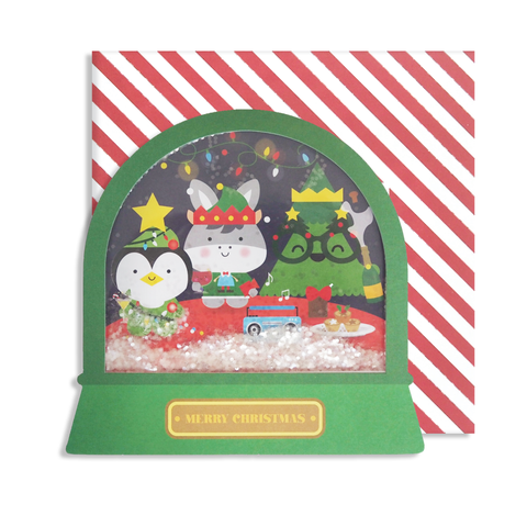 Christmas Party Snow Globe Card