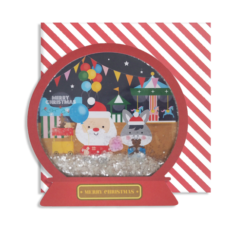 Fairground Santa Snow Globe Card