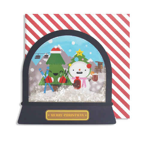 Tree and Snowman Skiing Snow Globe Card