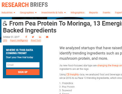 CB Insights - From Pea Protein To Moringa, 13 Emerging Investor-Backed Ingredients