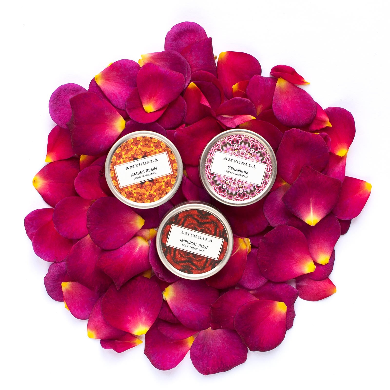 exotic amber rose and geranium solid perfume blend