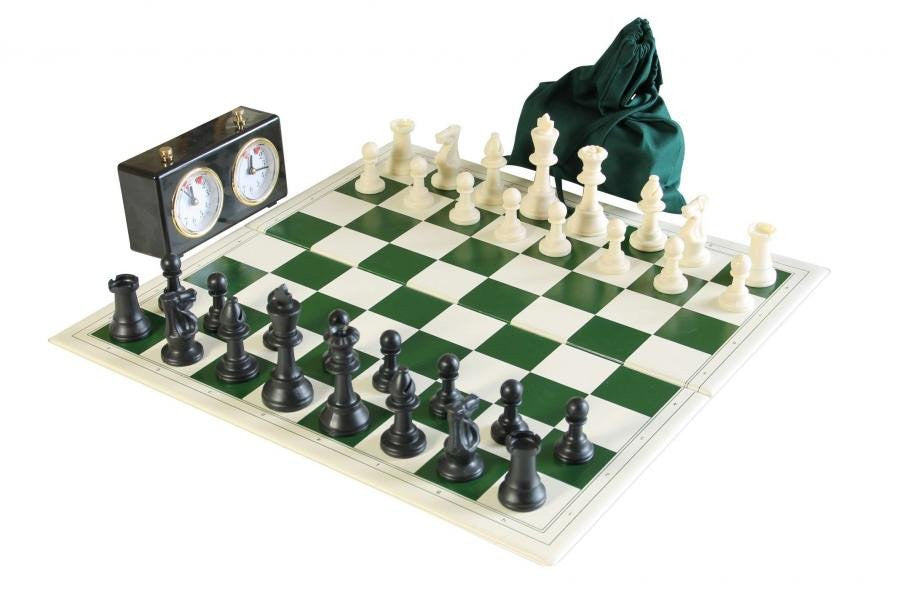 5 X Folding PVC Chess Set with Clock & Drawstring Bag