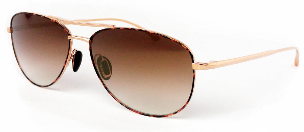 Masunaga - 9001 - SG - Aviator - Sunglasses - #51 - Rose Gold - Gold Mirror