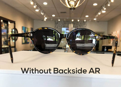 Sunglasses without AR Glare Free coating on backside